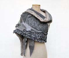 Wool Felt Hand knited shawl, Cozy warm, light grey, ash sculptural, unique OOAK, soft felted wool geometrical fashion , pastel patchwork 198...