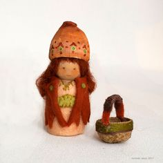 Autumn Gnome and Acorn Gathering Basket -=- dressed in felt with an acorn top basket!