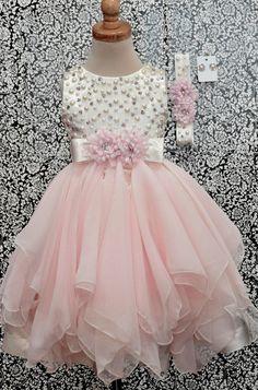 Little Girls formal dress Ivory Blush satin and chiffon