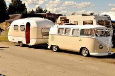 The caravan in bisque and cream.   VW and Caravan