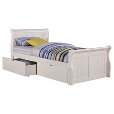 White Dual Underbed Drawers Sleigh Bed