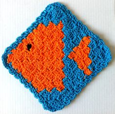 Fish Dishcloth Pattern: Crochet several of these blocks and join together as a floor mat for cat food bowls!