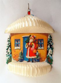 Vintage Paper & Card Honeycomb Santa Christmas Decoration 1950s Father Christmas House Home Cottage Snow #FollowVintage
