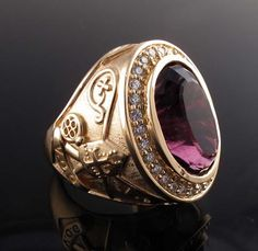 Bishop's ring with genuine amethyst and diamond melee