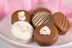 Tickled Pink Cookies - Bring a smile to the new mother-to-be with these adorable baby girl designed Double Stuffed Oreos®. www.chocolatepizazz.com