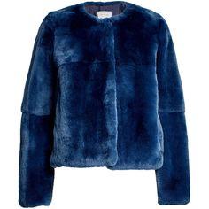 Yves Salomon Rabbit Fur Jacket ($2,005) ❤ liked on Polyvore featuring outerwear, jackets, blue, yves salomon, yves salomon jacket, rabbit jacket, blue jackets and collarless jackets