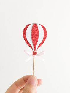 12 Glitter Hot Air Balloon Cupcake Topper for by mikaspartyshop