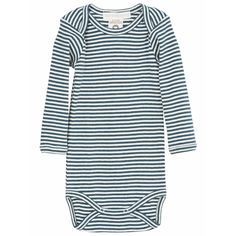 Striped rib cotton baby onesie in vibrant Atlantic blue and off-white stripes. All organic body stocking with envelope neck for easy dressing, as well as practical snap buttons at crotch. Style no. Baby Body, Body M, Serendipity, Striped Fabrics, Off White, Simple Dresses, Barn, Dressing, Stylish