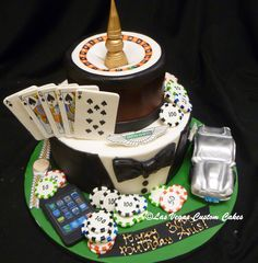 Classy Vegas themed Birthday Cake