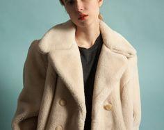 cream mod faux fur pea coat / white fur coat by persephonevintage