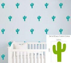 50 pcs Cactus Crianças Quarto Adesivos de Parede Decoração Do Berçário Adesivos de Parede de Vinil adesivo de parede Arte Do Decalque Mural Removível D493