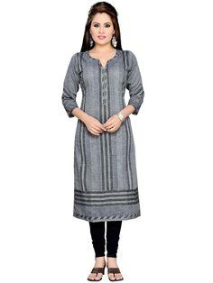 Flattering grey color khadi kurti with block print, V neck and 3/4 sleeves. Item Code: KTY164 http://www.bharatplaza.com/new-arrivals/kurtis.html