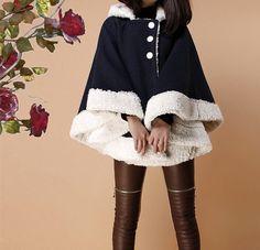 Blue cape wool cape cloak woolen large size coat winter jacket coat cloak cape coat Irregular hem women plus size coat S M L