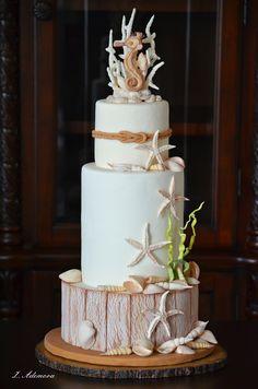 Beach Seashells Cake by More_Sugar Beach Themed Cakes, Beach Cakes, Gorgeous Cakes, Amazing Cakes, Seashell Cake, Seahorse Cake, Camo Wedding Cakes, Ocean Cakes, Nautical Cake