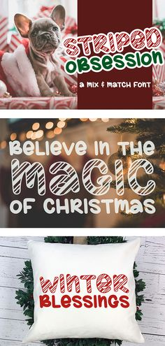 Striped Obsession - A Mix & Match Font example image 7 Holiday Fonts, Christmas Fonts, Christmas Crafts, Christmas Design, Match Font, Mix Match, Silhouette Files, Silhouette Cameo, Font Digital