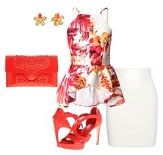 """""""Halter Peplum"""" by yvelazquezt ❤ liked on Polyvore featuring Alexander McQueen, MeDusa and Kate Spade"""