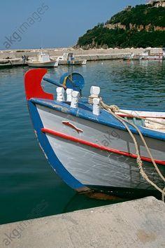 Bow of white fishing boat, Poros Harbour, Poros, Kefalonia, Greece