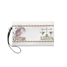 Cancer Libra friendship gifts by Valxart.com Wristlet Clutch  Valxart.com astrology art is available for everyone on hundreds of products that you can customize . See us on pinterest.com/valxart  or Contact info@valx.us for help finding or making the perfect friendship gift from Valxart