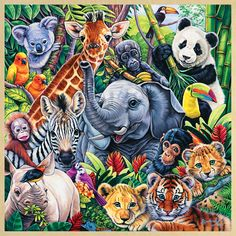 Baby Animal Art - Jungle Babies Wall Art by Jenny Newland from Great BIG Canvas_ pieces) Cross Paintings, Animal Paintings, Animal Drawings, Jungle Animals, Baby Animals, Cute Animals, Graffiti Kunst, Diamond Drawing, Baby Wall Art