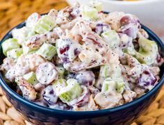 This sweeter twist on chicken salad with grapes, pecans, celery, poppy seeds, and hints of lemon and honey is perfect as a side dish or on a sandwich! Grape Recipes, Mexican Food Recipes, Ethnic Recipes, Salad Dressing Recipes, Chicken Salad Recipes, Chicken Salad With Grapes, Grape Salad, Seafood Appetizers, Gourmet