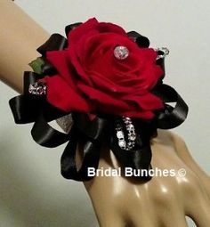 Amazon.com : Red Rose & Black Satin Ribbon with Silver Bling Wedding Flowers Wrist Corsage : Everything Else