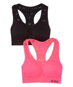 Look what I found on #zulily! Haute Pink & Black Mesh Sports Bra Set by XOXO #zulilyfinds
