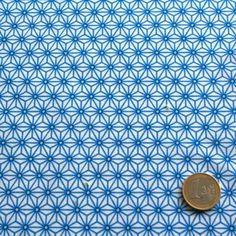 Tissu de coton japonais Saki - Motif Asanoha blanc & bleu turquoise