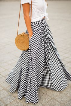 gingham maxi skirt x cotton tee x wicker circle back