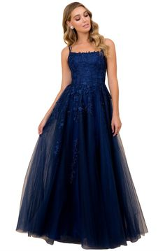 Nox Anabel - Embroidered Scoop Neck Long A-line Gown 8th Grade Prom Dresses, Dark Blue Prom Dresses, Pretty Prom Dresses, A Line Prom Dresses, Ball Dresses, Dark Blue Gown, Blue Evening Dresses, Ravenclaw, Fancy Gowns