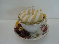 Vintage Tea Cup Pin Cushion by Kymsart777 on Etsy,