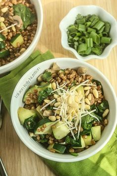 Warm Spinach and Mushroom Wheat Berry Salad from Lauren Kelly Nutrition