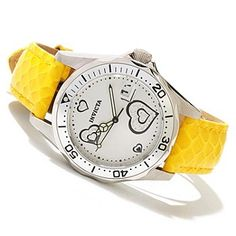 618-403 - Invicta Women's Pro Diver Quartz Heart Accented Dial Leather Strap Watch