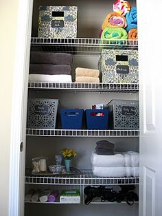 Master bath linen closet storage solutions New ideas Bathroom Closet Organization, Ikea Closet Organizer, Closet Storage, Diy Organization, Bath Storage, Closet Shelves, Organizing Ideas, Master Bedroom Closet, Master Bathroom