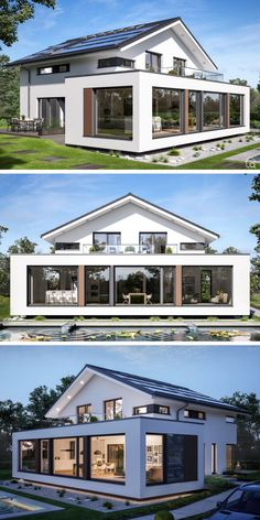 """Modern House Architecture Design with Gable Roof Contemporary European Minimalis. Modern House Architecture Design with Gable Roof Contemporary European Minimalist Style Floor Plans """"CONCEPT-M 210 Günzburg"""" - Dream Home Ideas with 4 Bedroom, Atrium House Architecture Styles, Architecture Plan, Architecture Websites, Architecture Quotes, Modern House Plans, Modern House Design, Contemporary Design, House Extension Design, Prefabricated Houses"""