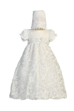 Long White Embroidered Satin Ribbon Tulle Baby Girl Christening Baptism Special Occasion Newborn Dress Gown with Matching Hat - L (12-18 Month, 18-22 lbs) Christening Day,http://www.amazon.com/dp/B00CXY32DS/ref=cm_sw_r_pi_dp_dOC8rb0V91W0HDQQ