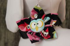"""""""OWL"""" Collar Flower for dogs and cats. Created and designed by BARKS A LOT BOWTIQUE. Velcro strap secures around any collar. www.barksalotbowtique.com"""
