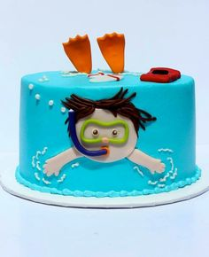 I love this little pool cake. or swimming cake? Little boy swimming cake! Pretty Cakes, Cute Cakes, Swimming Cake, Swimming Cupcakes, Underwater Swimming, Swimming Diving, Pool Party Cakes, Novelty Cakes, Fancy Cakes