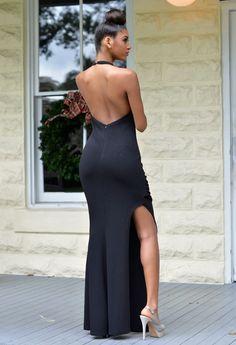 Arabella Ivory Jeweled Halter Neck Slit Gown