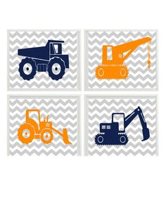 Construction Trucks Art Print Set - Baby Toddler Boy Room Nursery Gray Chevron Orange Navy Blue - Wall Art Home Decor Construction Trucks Art Print Set Baby Toddler by RizzleandRugee