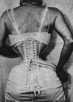 Another terrible practice in the past...extreme corsetry for an impossibly small waist. (Though, this proves that it was possible. *shudders*) :(