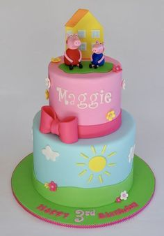 Every one I know seems to be at Disney World this week, so I thought it would be a fun time to post all of my Disney themed cakes. I am sur. Tortas Peppa Pig, Bolo Da Peppa Pig, Peppa Pig Birthday Cake, Birthday Fun, Peppa Pig Cakes, Birthday Ideas, Disney Themed Cakes, Disney Cakes, Aniversario Peppa Pig