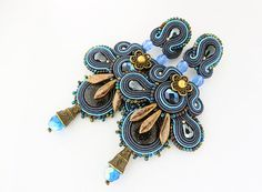 Blue statement earrings blue chandelier earrings soutache by pUkke