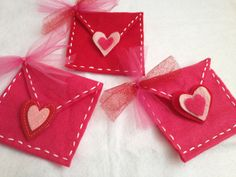 Valentine's Day Felt Envelopes, Hand sewn with pink, red, white hearts and Tulle bow on Etsy, $5.00