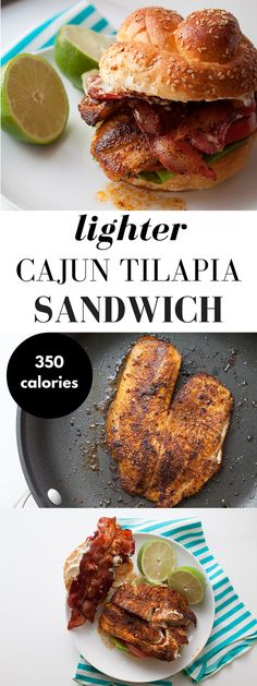 Lighter Cajun Tilapia Sandwich Recipe! This grilled tilapia recipe is so far from average --it's packed with cajun spices, topped with crispy bacon, a little lime mayo, and then sandwiched inside a whole grain bun! A killer fish sandwich recipe