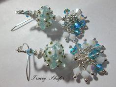 Handmade Artist Lampwork by Tom Gronwall, Vintage Swarovski & Sterling Silver Beads, Ear wires & findings.