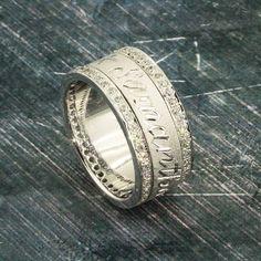 Arabic puzzle wedding rings