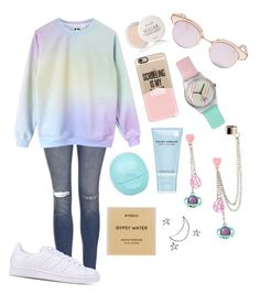 """Pastel (again)"" by reaganpops on Polyvore featuring Topshop, Fresh, Le Specs, Casetify, River Island, Marc Jacobs, Byredo and adidas Originals"