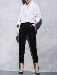#AdoreWe #StyleWe YIMEI Polyester Two Piece Plain 3/4 Sleeve Simple Jumpsuit - AdoreWe.com