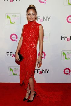 Nicole Richie in red lace long train dress