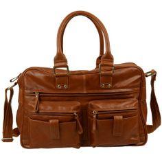 69799a4111c €99,95 Grote bruine leren tas met een rits aan de voor, boven en  achterkant, een comfortabele textiele schouderband. Textiele afwerking met  handig ...